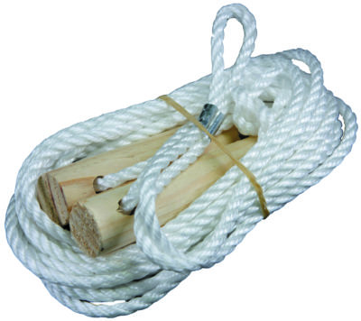 guy rope and wood slide